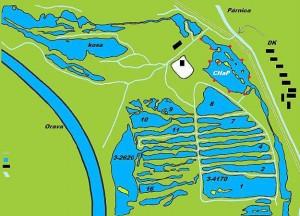 Mapa párnických rybníkov. Vpravo je označený revír srežimom Chyť apusť. (zdroj: Párnický rybár)